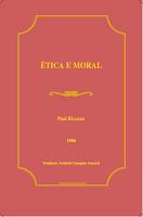 Paul Ricoeur – Ética E Moral